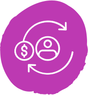 A vector image of money rotating around a person.