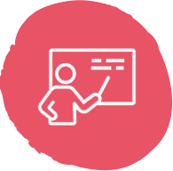 A vector image of a person pointing to a chalkboard.