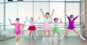 Girls in Tutus During a Dance Class