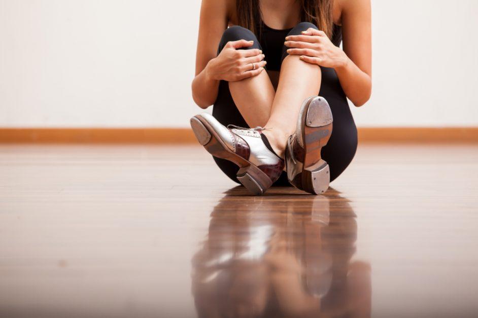 Girl Wearing Tap Dance Shoes