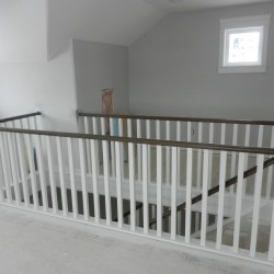 Finished banister and stair handrails.