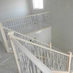 Freshly built wood and metal railings.