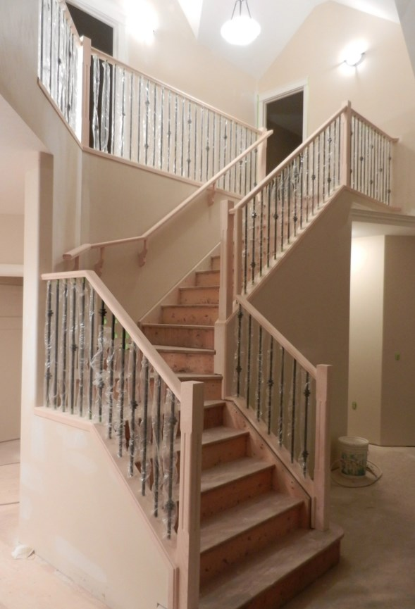 Wood and metal stair railings.