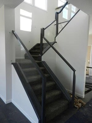 Stair railings with glass