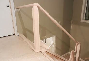 Stair railing system running downstairs.