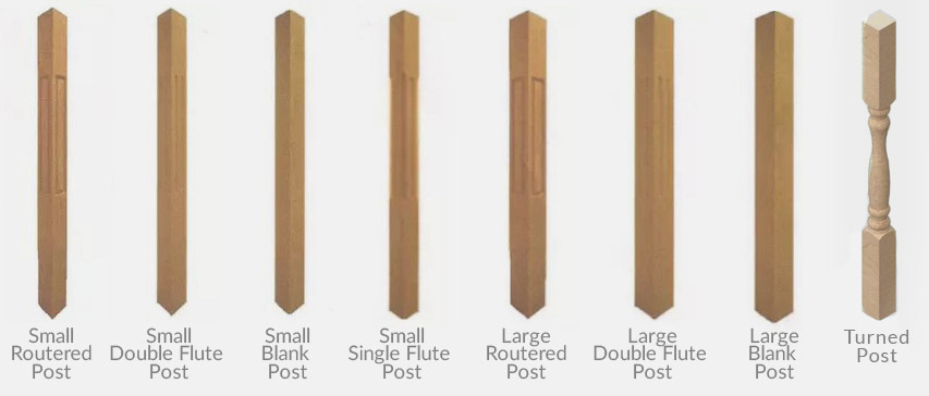 Different types of hand rail newel posts.
