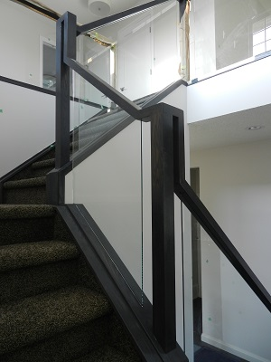 Glass railing build looking upstairs.