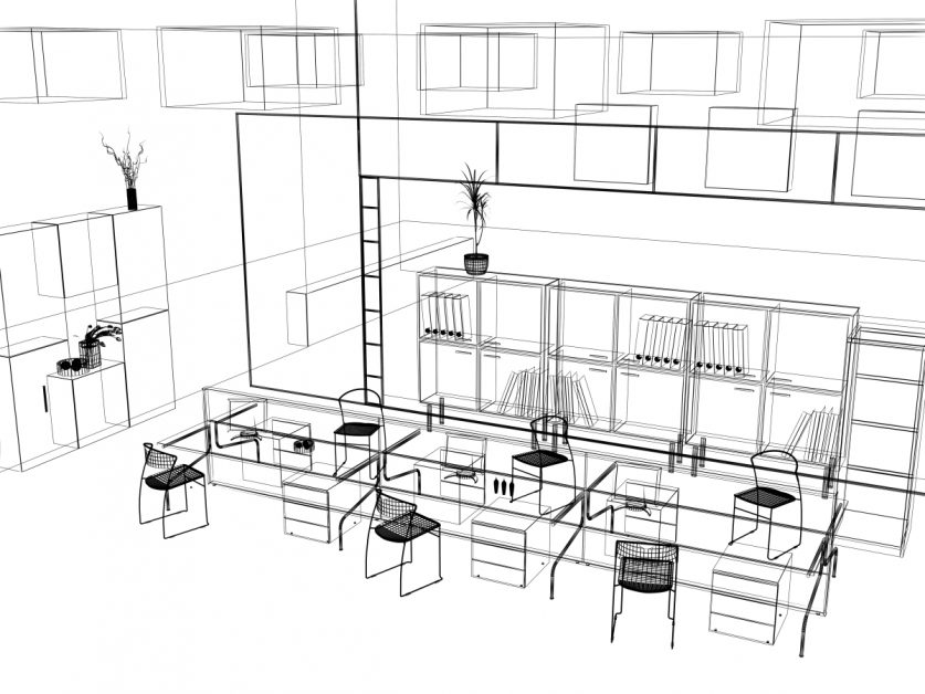 sketch of modern office design