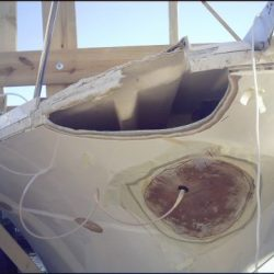 Image of the type of damage to a yacht that Dennis Boatworks can fix.