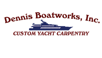 "A logo image that says ""Dennis Boatworks, Inc. Custom Yacht Carpentry"" in maroon with the silhouette of a yacht in navy blue."