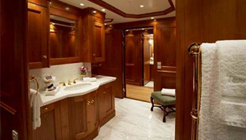An image of a custom bathroom interior made by Dennis Boatworks.