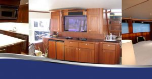 A banner of three images of different cabinet carpentry options: a dark wood in the kitchen, a light brown for an entertainment center, and a red wood for another entertainment center from Dennis Boatworks.