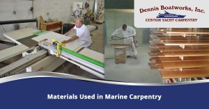 Two images side by side of Dennis Boatworks employees cutting and staining wood.
