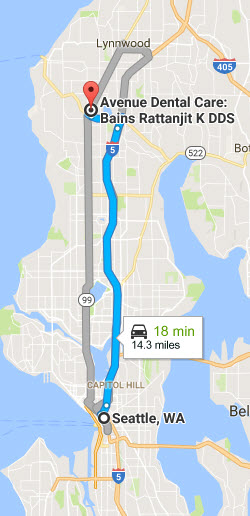Driving directions from seattle to Avenue Dental Care, Edmonds - family walkin dental clinic