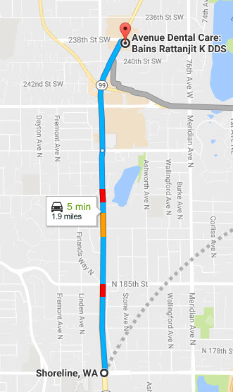 Driving directions from shoreline, WA to Avenue Dental Clinic, Edmonds - Family dental walk-in clinic