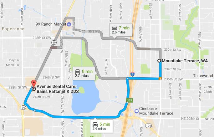 Driving Directions Mountlake Terrace, WA to Avenue Dental Clinic, Edmonds - Family walk-in dental clinic