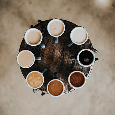 Round Table with Cups of Coffee
