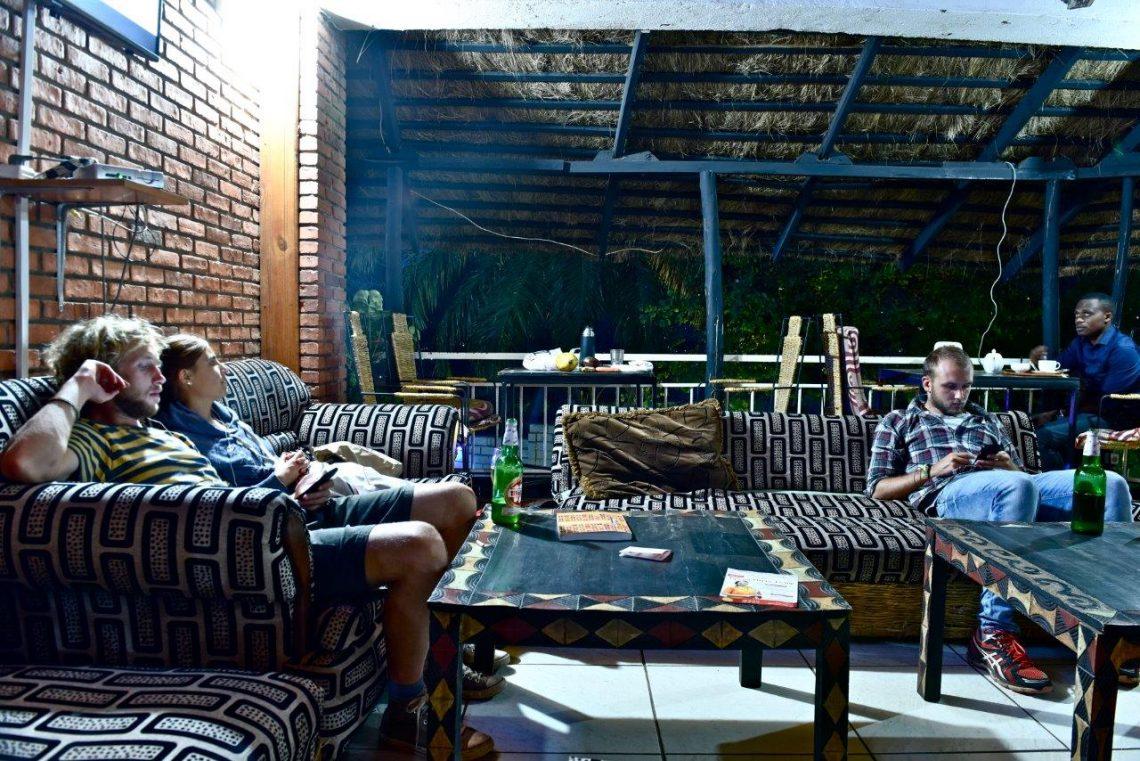 Kigali hostel Cozy communal sitting area