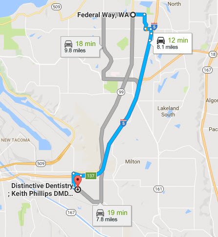 Driving Directions - Federal Way, WA to Distinctive Dentistry, Tacoma - Family Walk-in Dental Clinic