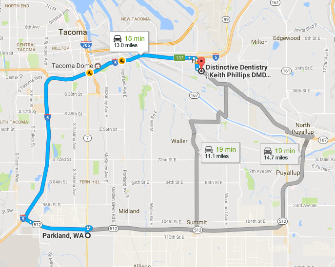 Dentist near Parkland, WA - Distinctive Dentistry, Tacoma, WA - Driving Directions