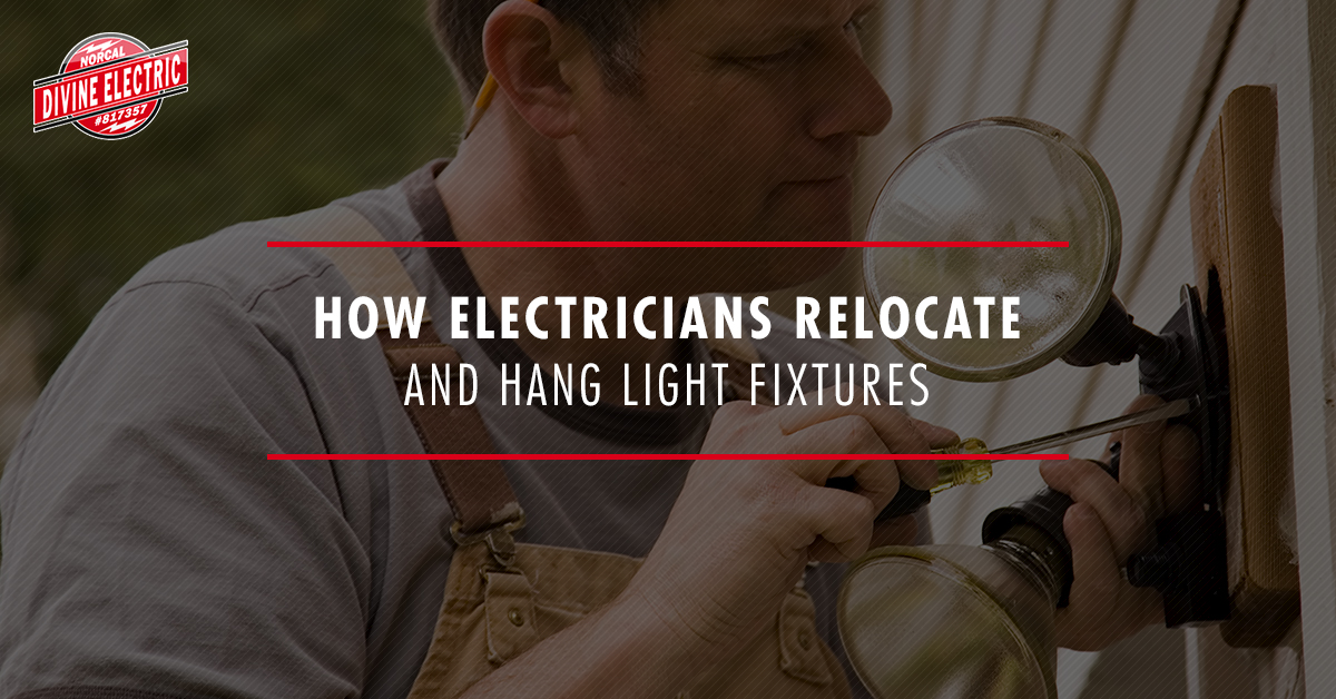 How electricians relocate and hang light fixtures banner