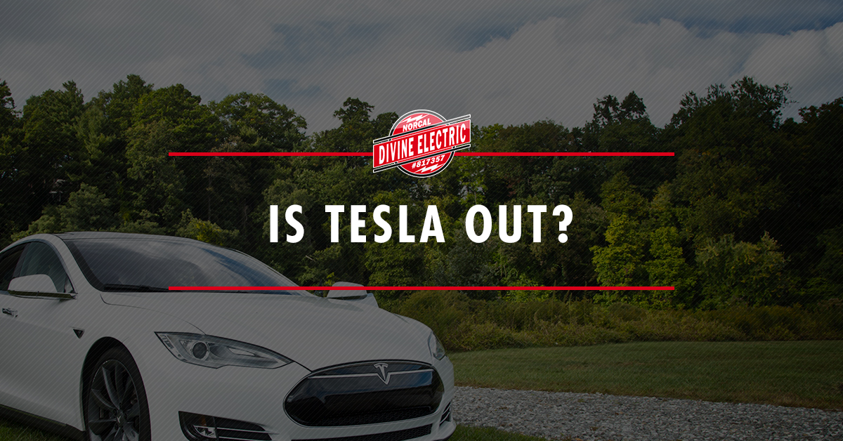"A picture of a tesla with a text overlay that reads ""Is Tesla out?"""