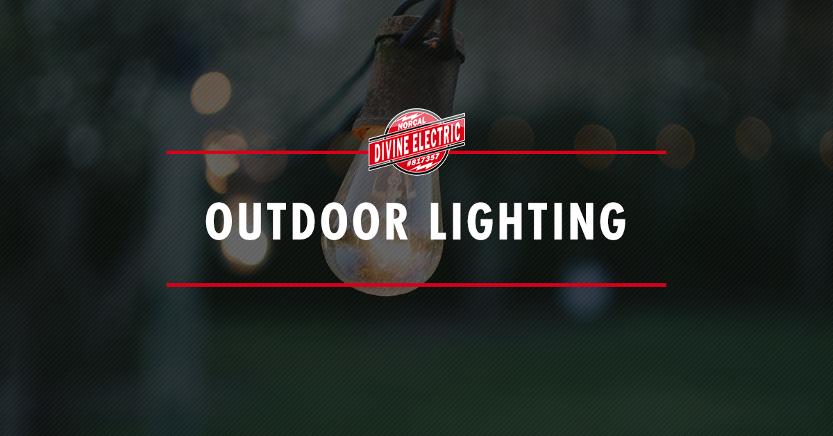 """a light bulb with a text overlay that reads """"Outdoor Lighting"""""""