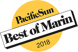 "A yellow badge that reads ""Pacific Sun Best of Marin 2018"""