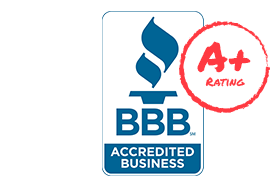 "A badge that reads ""A plus rating, BBB accredited business"""