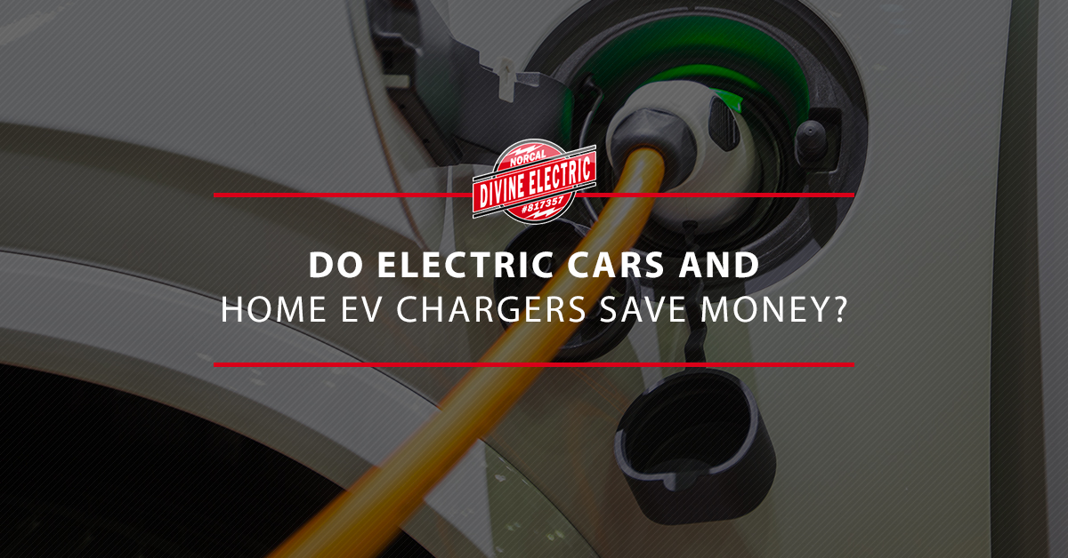"""A car charging with the overlaid text """"Do electric cars and home ev chargers save money"""""""