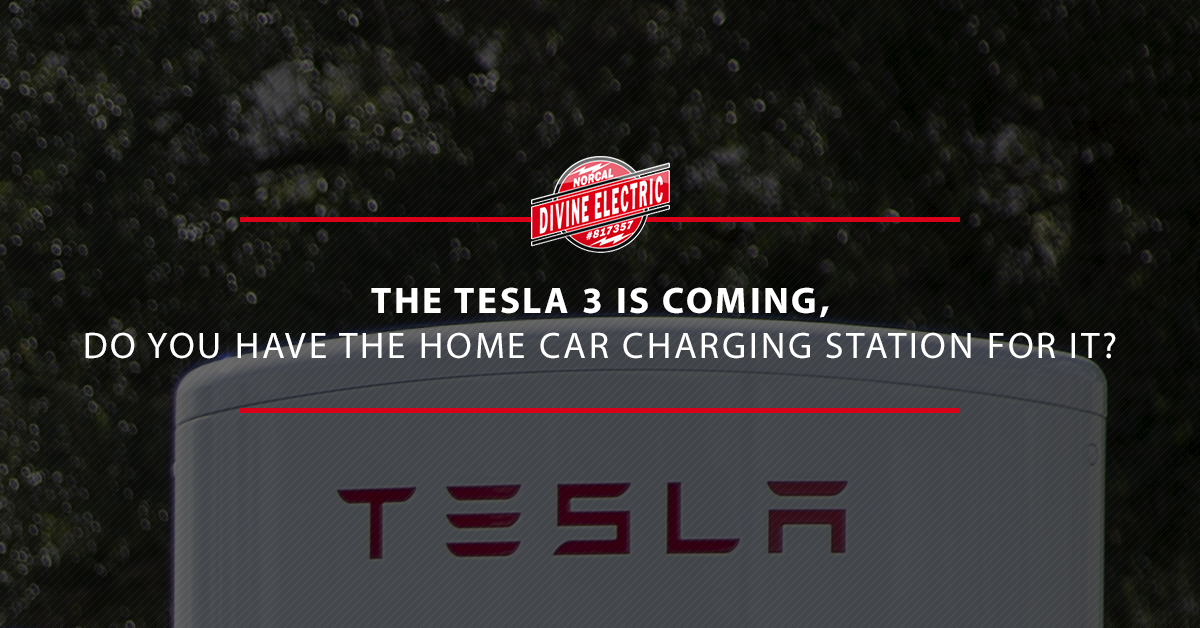 """A picture of a Tesla charger with the overlay text """"The Tesla 3 is coming, do you have the home car charging station for it?"""