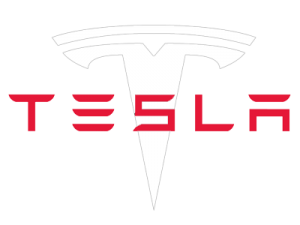 Tesla's logo in white.