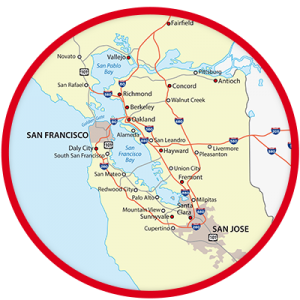 A picture of a map of San Francisco and the rest of Marin county.