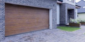 An image of a wooden garage door.