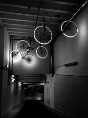 An image of bikes hanging in a garage.