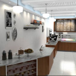 3D Rendering Cafe Interior