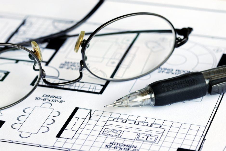 Glasses on Blueprint Floorplan Closeup