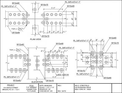 Steel Shop Drawing Detail of Joints
