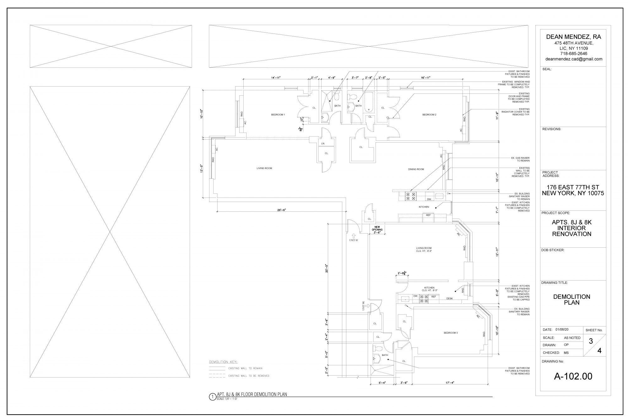 New York Apartment Interior Renovation Construction Drawing
