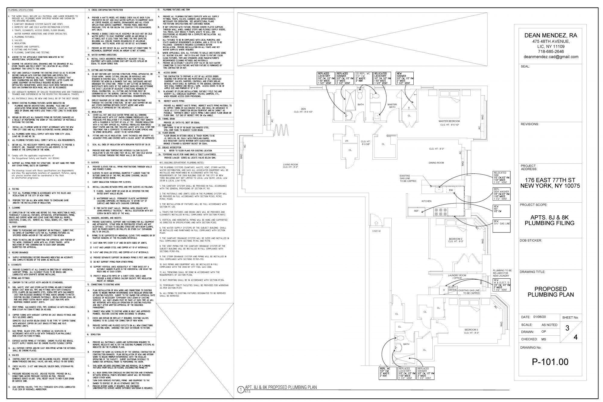 Interior Renovation Construction Drawing for New York Apartment