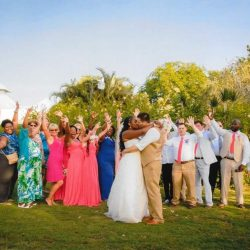 Group picture of April and Serghei's destination wedding
