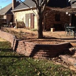Flagstone patio and retaining wall