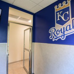 KC Royals pet suite at our Riverside pet resort