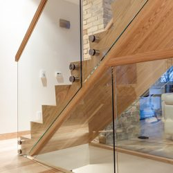 Custom glass panels for stairs.
