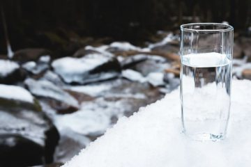 glass of clean water outside