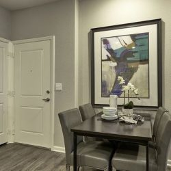 Apartment home with entry and closet doors, dining space, and bathroom door - Elements at Prairie Center
