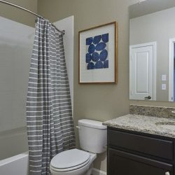 Bathroom with vanity and shower in an apartment rental - Elements at Prairie Center