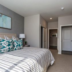 Large bedroom with closet and door to living space in an apartment home- Elements at Prairie Center