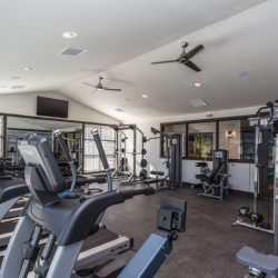 Apartment fitness center with treadmills and weights - Elements at Prairie Center