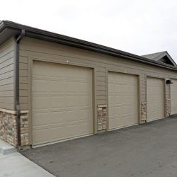 Garage spaces at an apartment complex - Elements at Prairie Center
